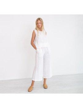 Riley Linen Culottes / Wide Leg Linen Pants / Palazzo Pants / High Waist Linen Trousers / White by Etsy