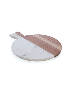 Shiraleah 18 76 001 Piedmont Wood And Marble Round Board by Shiraleah
