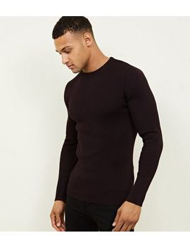 Burgundy Muscle Fit Ribbed Jumper by New Look