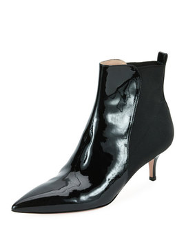 Half Stretch Patent Booties by Gianvito Rossi