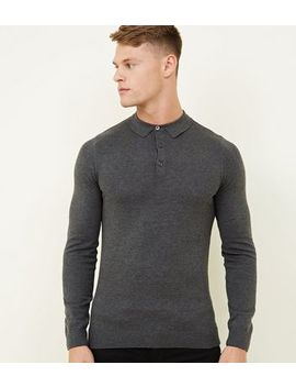 Dark Grey Long Sleeve Muscle Fit Knitted Polo Shirt by New Look