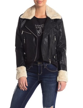 Faux Fur Collar Faux Leather Moto Jacket by Vigoss