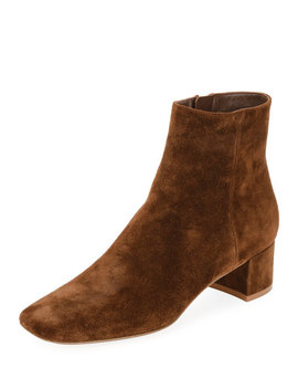 Square Toe Suede Bootie by Gianvito Rossi