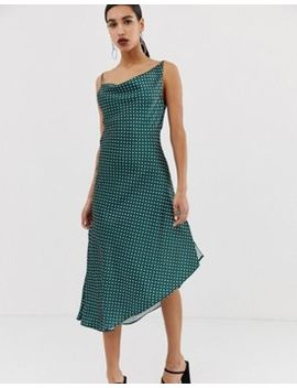 Asos Design Midi Slip Dress In High Shine Satin In Polka Dot by Asos Design
