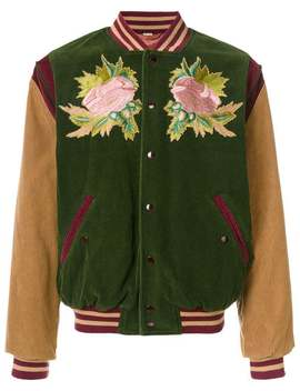 Angry Cat And Floral Embroidered Bomber Jacket by Gucci