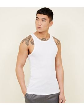 White Muscle Fit Ribbed Vest by New Look