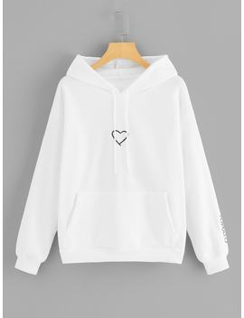 Heart Embroidery Drawstring Kangaroo Pocket Hoodie by Romwe