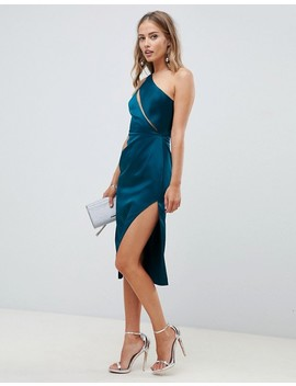 Asos Design Midi Dress In Satin With Spliced Bodice by Asos Design