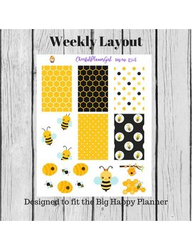 Bumble Bee Weekly Layout Big Hp Planner Stickers F548 by Etsy