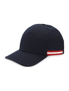 Baseball Hat With Trainspotting Striped Trim by Bally