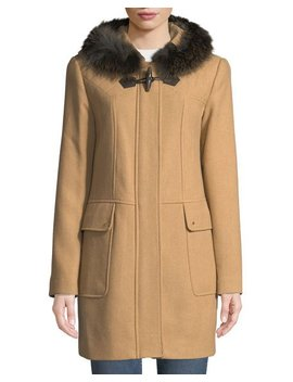 Fox Fur Trimmed Hooded Toggle Coat by Ellen Tracy