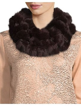 Rabbit Fur Pompom Neck Warmer, Wine by Adrienne Landau