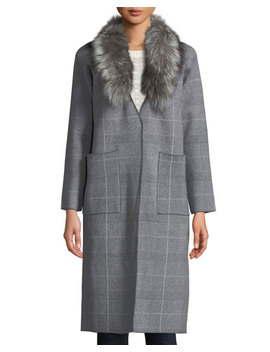 Glen Plaid Fox Fur Collar Jacket by Neiman Marcus