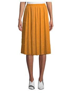 Pleated Charmeuse Midi Skirt by Joan Vass
