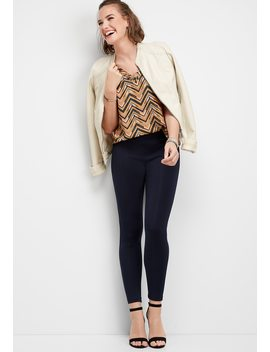 Navy Ponte Skinny Pant by Maurices