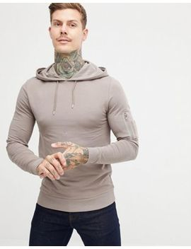 Asos Design Muscle Hoodie With Ma1 Pocket In Beige by Asos Design