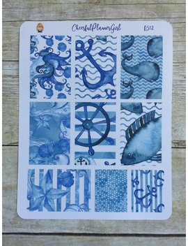 Watercolor Nautical Weekly Layout For Big Hp Planner Stickers F512 by Etsy