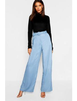Tall Belted Wide Leg Trouser by Boohoo