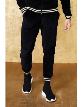 Velour Jogger With Gold Rib by Boohoo Man