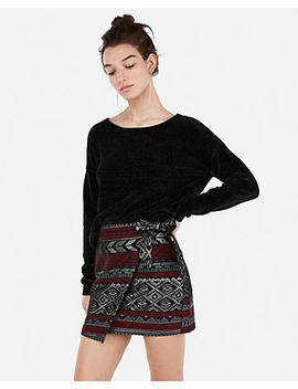 Metallic Aztec Jacquard Wrap Mini Skirt by Express