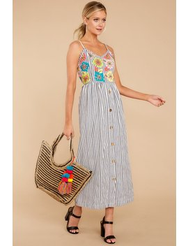 You Must Be Brave Blue Stripe Maxi Dress by America & Beyond