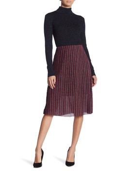 Metallic Glitter Pleated Skirt by Eci