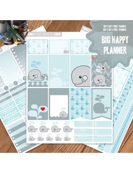 Whale Planner Stickers Printable, Big Happy Planner Stickers, Weekly Planner Kit, Planner Stickers, Big Mambi Planner Stickers, Digital by Etsy