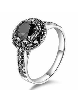 Mytys Vintage Retro Silver Black Round Cut Marcasite Stone Ring Fashion Statement Jewelry For Women Girls (6 10) by Mytys