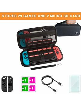 Carrying Case And Screen Protector For Nintendo Swtich, Mebarra Switch Accessories Starter Kit Include Protective Travel Shell Case, Charging Cable, Joy Con Cover (29 Game Cards Holders, Black) by Mebarra