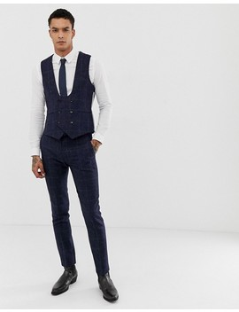 Twisted Tailor Woven In England Super Skinny Vest In Navy Tweed Check by Twisted Tailor