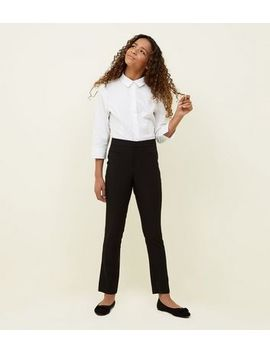 Girls Black Tapered Stretch Trousers by New Look