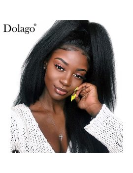 Kinky Straight 360 Lace Frontal Wig Pre Plucked With Baby Hair 180 Percents Density Lace Front Human Hair Wigs Coarse Yaki Dolago Remy by Dolago