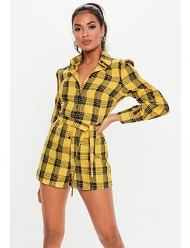 Yellow Check Long Sleeve Playsuit by Missguided