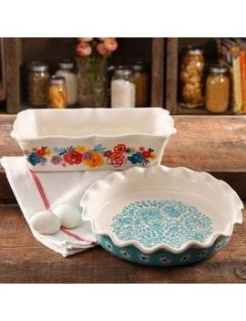 The Pioneer Woman Flea Market Decorated 9 Ruffle Top Pie Plate And 2.3 Quart Ruffle Top Bakeware by The Pioneer Woman