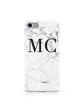 Personalised Marble Initials Hard Mobile Phone Case Cover For Apple Iphone 7 by Dyefor