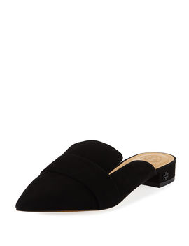 Rosalind Pointed Toe Suede Mules by Tory Burch