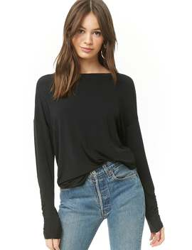 Ruched Boat Neck Top by Forever 21