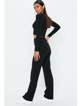 Black Rib Mix And Match Loungewear Wide Leg Pants by Missguided