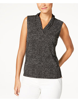 Printed Pleated V Neck Top by Anne Klein
