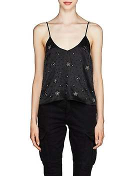 Beaded Silk Washed Satin Cami by Amiri