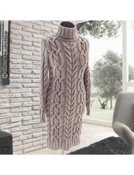 Turtleneck Sweater Dress   Cable Knit Handmade Sweater   Chunky Sweater   Cozy Warm Sweater   Fall Winter Women's Clothes by Etsy