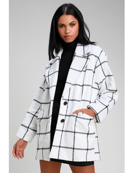On The Grid White Grid Print Coat by Lulus