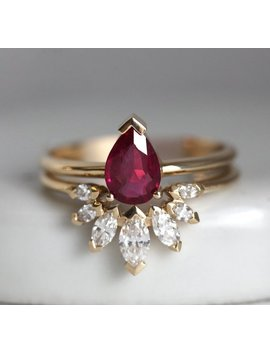 Natural Ruby Engagement Ring Set With Marquise Diamond Crown Ring, Pear Ruby Solitaire With Matchin Diamond Band by Etsy