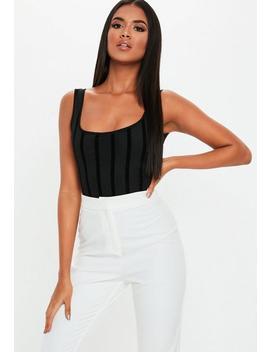 Black Mesh Velvet Stripe Bodysuit by Missguided