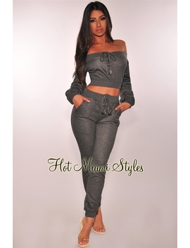 Gray Off Shoulder Lace Up Jogger Sweater Two Piece Set by Hot Miami Style