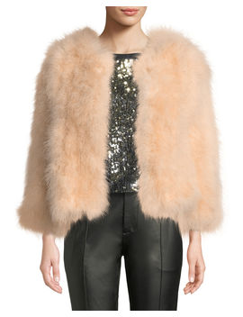 Knit Ostrich Feather Jacket by Belle Fare