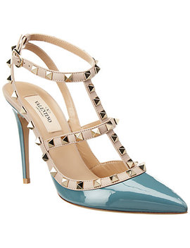 Valentino Cage Rockstud 100 Patent Ankle Strap Pump by Valentino