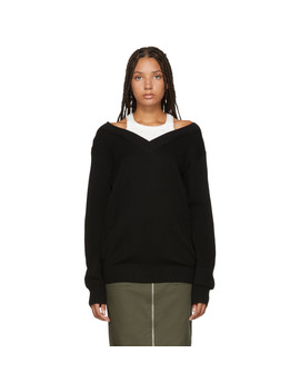 Black Inner Tank Off The Shoulder Sweater by Alexanderwang.T