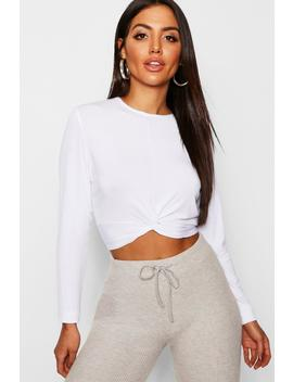 Basic Crew Neck Twist Top by Boohoo