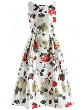 Vivid Rose Printed Prom Dress In White by Chicwish